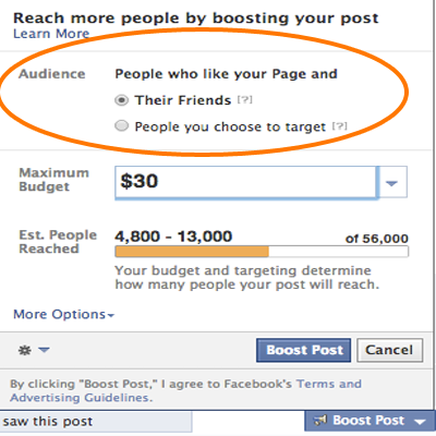 facebook boost post audience